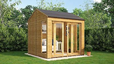 8 x 8 Wooden Garden Summerhouse Sunroom With French Doors Cannes