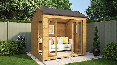 8 x 6 Monte Carlo Wooden Garden Summerhouse Sunroom With French Doors