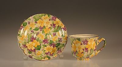 "James Kent ""Primula"" Chintz Demitasse Cup and Saucer, England"