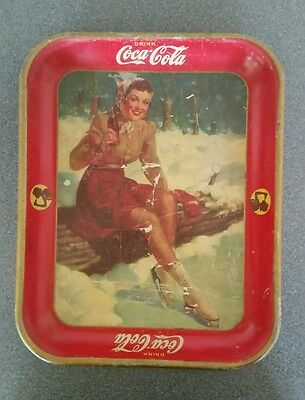 Vintage 1941 Coca Cola Metal Serving Tray Girl Ice Skating Winter Christmas
