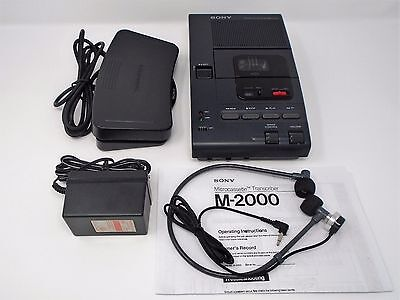 Sony M-2000 Microcassette Transcriber With Foot Pedal, Headset, AC Adapter
