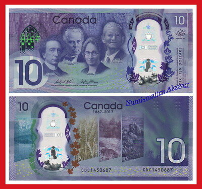 CANADA 10 Dolares dollars 2017 Commemorative Polymer Pick NEW  SC /  UNC