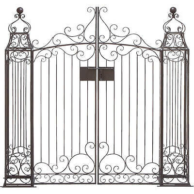 Black Wrought Iron Garden Gate Door Classic Vintage Iron Swinging Door Arbor