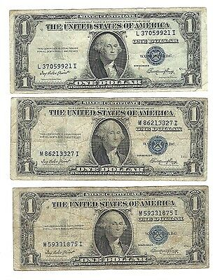 Lot of 3 1935 Series E $1 Dollar Silver Certificates-Blue Seal
