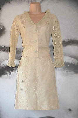 Vintage Lace 50's Suit Skirt Jacket Ivory Jackie O Wedding Party Embroidered