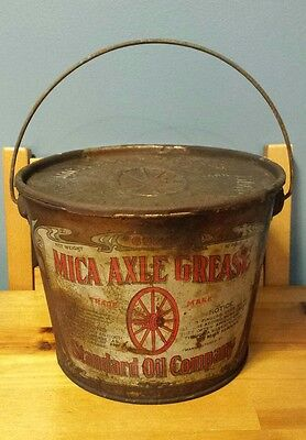 Antique Mica Axle Grease 10 Lb Tin Litho Pail Can Standard Oil Company Gas & Oil