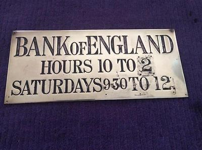 Old Bank Of England Brass Actual Door Entrance Sign Money Cash £5 £10 £20 Note