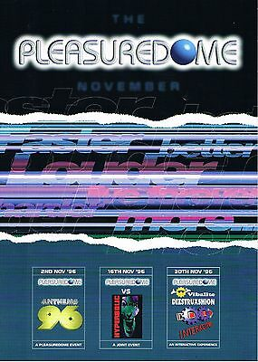 PLEASUREDOME Rave Flyer Flyers 2/11/96 A4 The Zoo Fantasy Island Ingoldmells