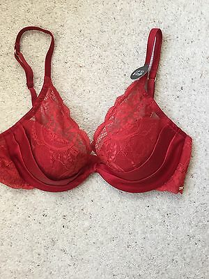 Lovely NEW Red Satin & Lace Bra By M&S Size 34C