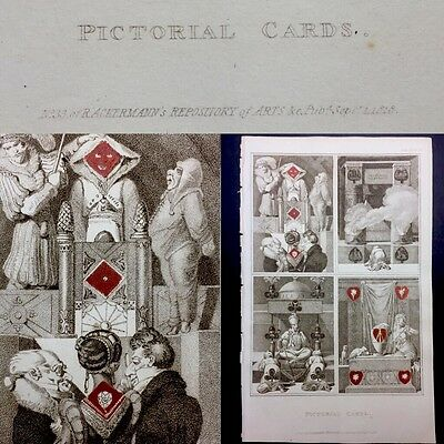 1818 Transformation Antique Playing Cards Original Ackerman Intact Book Plate