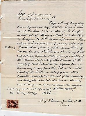 1864 Civil War Aid to Volunteers Request for Mrs. Eliza Murty