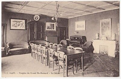 HOSPICE DU GRAND ST-BERNARD - LE SALON, SWITZERLAND ~ AN OLD POSTCARD (Ab18)