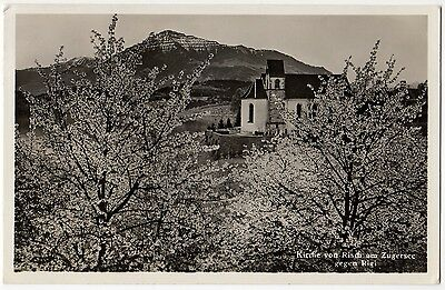 KIRCHE VONRISCH AM ZUGERSEE, SWITZERLAND ~ AN OLD PHOTO POSTCARD (Ab15)
