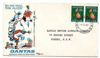 Ffc South Africa 1967 Quantas First Flight Cover From Sydney To Johannesburg