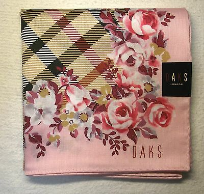 "DAKS flower & check print handkerchief cotton 100% 50X50cm(19.69"") made in Japan"