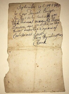 RARE 1756 Manuscript Enlistment Document Thomas Lawson French & Indian War
