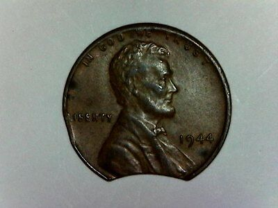 1944 US 1C Lincoln Penny Coin Error Clipped Planchet