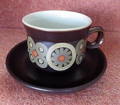 Denby China Brown Cups And Saucers X 5