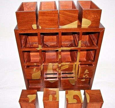 Hand Carved Antique Chinese Wine Alcohol Bar Storage Cabinet 16 Drawers Rare