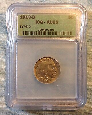 1913 d type 2 buffalo nickel. ICG AU 55