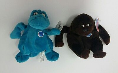 1997 Planet Hollywood Plush Bean Bags Dinosaur and Gorilla