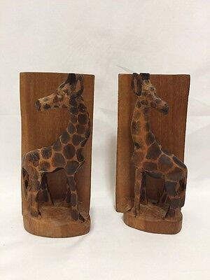 Hand Carved Wooden Giraffe Wooden Book Ends From Kenya