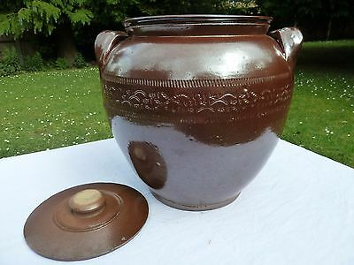 Large Vintage Brown Saltglazed Stoneware Crock Pot Or Storage Jar