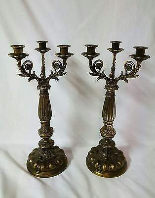 Ornate Pair of Large Antique Brass 3 Arm Candelabras Candle Holders