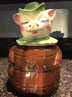 Vintage SHAWNEE Chocolate Smiley Cookie Jar Piggy Bank