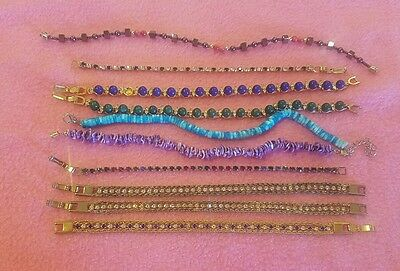 10 LOT Ladies Jewelry Beaded crystal Elegant everyday Bracelets gold/silve tone