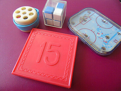 SET of 4 Soviet puzzles - minus-cube, 15, hockey, logical game, brainteaser USSR