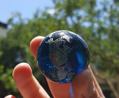 35mm Earth Globe Marble Glass Globe - Recycled Glass Navigational Nautical Earth