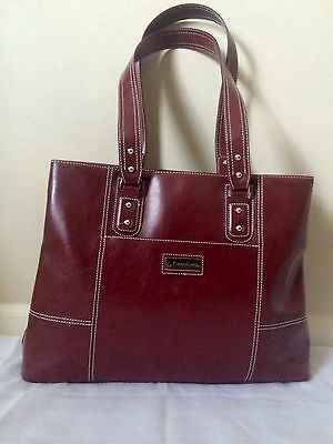Franklin Covey Veronica Womens Red Laptop Gusset Business Bag Purse