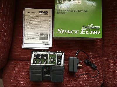 Boss RE-20 Roland Space Echo twin pedal with adapter