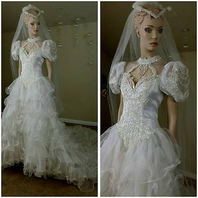 Vintage ruffles white 80s wedding dress  with train ,beads and sequins size 8