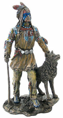 Plains Native American Indian Statue w/ Wolf Sculpture Figure -  HOME DECOR