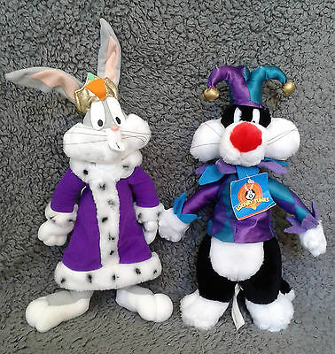 Vintage Looney Tunes King Bugs and Jester Sylvester Plush Toys (1997)