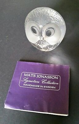 Mats Jonasson Signature Collection Full Lead Crystal Owl/ Laser Signed/ Numbered