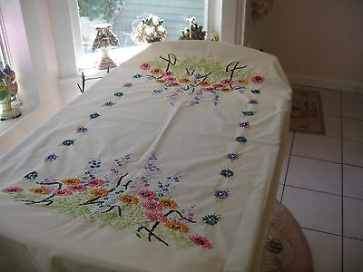 Beautiful Large Vintage Hand Done Embroidered Tablecloth With Flowers Floral