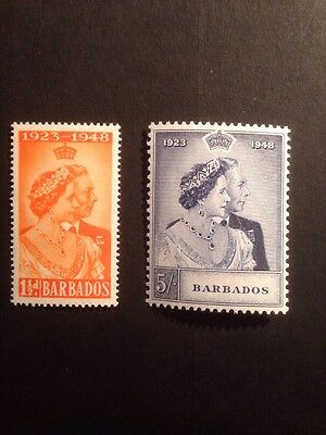 Barbados 1948 Silver Jubilee SG 265/6 Lightly Mounted Mint