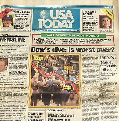 RARE: USA TODAY   Tuesday, October 20, 1987 (BLACK MONDAY).       (never opened)