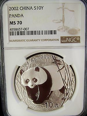 2002 China Panda 10 Yuan NGC MS70 1 Ounce Silver Coin