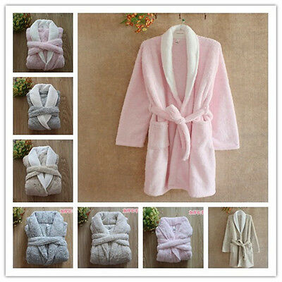 Luxury Womens Mens Thermal Coral Fleece Dressing Gowns Super soft Bath Robes