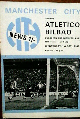 Man City V Athletic Bilbao 1/10/1969 European Cup Winners Cup