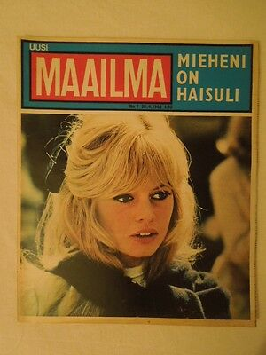 Finnish Uusi Maailma Magazine 9/1965 Brigitte Bardot on cover