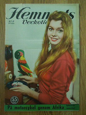 Swedish Hemmets Veckotidning Magazine 8/1956 Brigitte Bardot on cover
