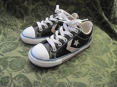 Converse All Star Toddler Size 10 Black Leather / White Shoe Sneaker