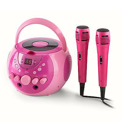 Karaoke System Cd Player  Led Compact Singing Video Out 2 Mics 2 Jack Led Pink