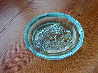 "Vintage Bohemian Blue Art Glass Pin Tray Intaglio Engraved ""Hunting"" By Hoffmann"