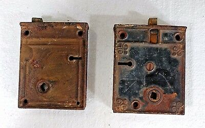 2 Vintage Door  latches Deadbolts pre 1900~ unknown makers~non-matching